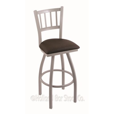 Contessa 36 Swivel Bar Stool Finish: Anodized Nickel, Upholstery: Rein Coffee