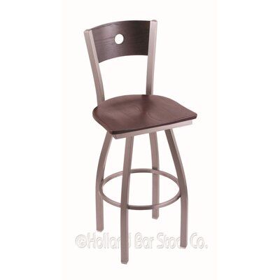 Voltaire 30 Swivel Bar Stool Base Finish: Stainless, Upholstery: Dark Cherry Oak