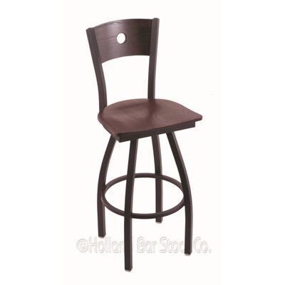 Voltaire 36 Swivel Bar Stool Base Finish: Black Wrinkle, Upholstery: Dark Cherry Oak