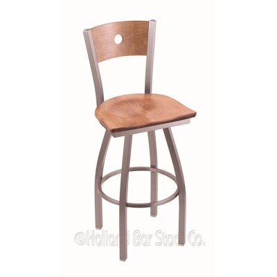 Voltaire 25 inch Swivel Bar Stool Base Finish: Stainless, Upholstery: Medium Maple