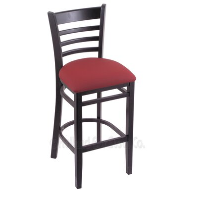 25 Bar Stool Finish: Black, Upholstery: Allante Wine