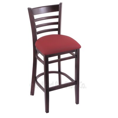 25 inch Bar Stool Upholstery: Allante Wine, Finish: Dark Cherry