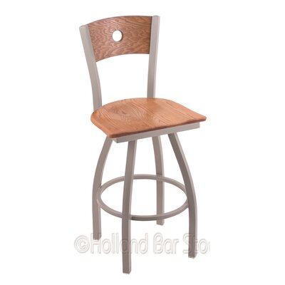 Voltaire 30 Swivel Bar Stool Base Finish: Anodized Nickel, Upholstery: Medium Oak