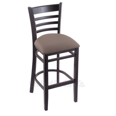 25 inch Bar Stool Finish: Black, Upholstery: Axis Truffle