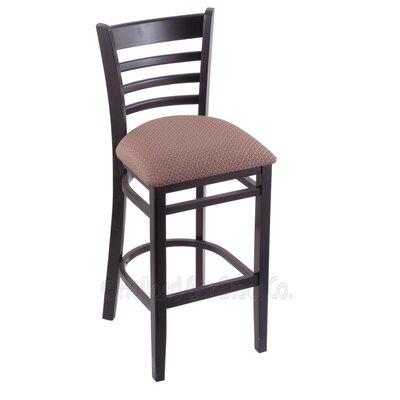 25 Bar Stool Finish: Black, Upholstery: Axis Willow
