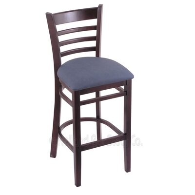 25 Bar Stool Finish: Dark Cherry, Upholstery: Rein Bay