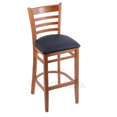 25 Bar Stool Finish: Medium, Upholstery: Allante Dark Blue