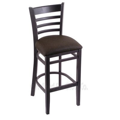 25 Bar Stool Finish: Black, Upholstery: Rein Coffee
