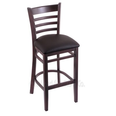 25 inch Bar Stool Upholstery: Allante Espresso, Finish: Dark Cherry