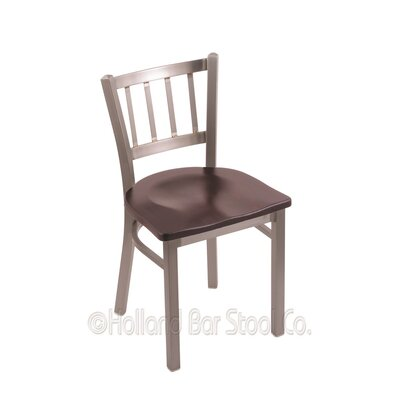 Contessa Solid Wood Dining Chair Upholstery: Dark Cherry Maple, Base Finish: Stainless
