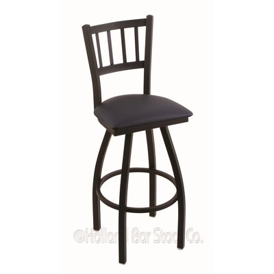 Contessa 36 Swivel Bar Stool Finish: Black Wrinkle, Upholstery: Allante Dark Blue