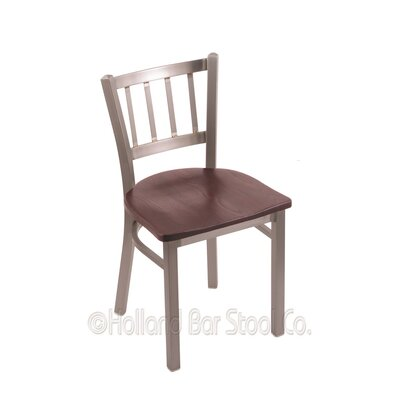 Contessa Side Chair Upholstery: Dark Cherry Oak, Base Finish: Stainless