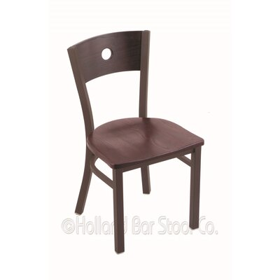 Voltaire Solid Wood Dining Chair Upholstery: Dark Cherry Oak, Base Finish: Bronze