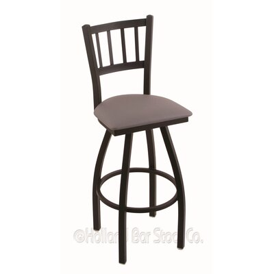 Contessa 36 Swivel Bar Stool Finish: Black Wrinkle, Upholstery: Allante Medium Grey