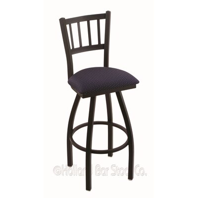 Contessa 30 Swivel Bar Stool Upholstery: Axis Denim, Finish: Black Wrinkle