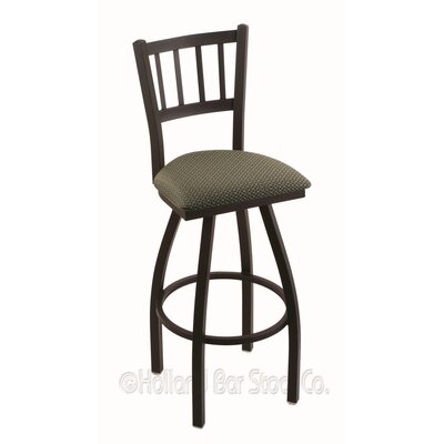 Contessa 30 Swivel Bar Stool Finish: Black Wrinkle, Upholstery: Axis Grove
