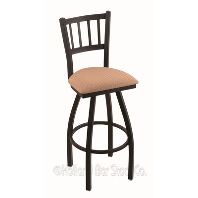 Contessa 25 Swivel Bar Stool Finish: Black Wrinkle, Upholstery: Axis Summer