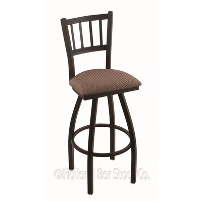 Contessa 30 Swivel Bar Stool Finish: Black Wrinkle, Upholstery: Axis Willow