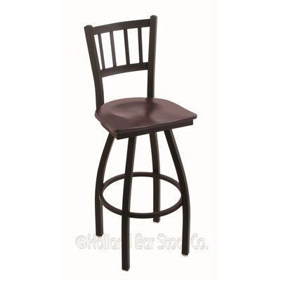 Contessa Swivel Bar Stool Base Finish: Black Wrinkle, Upholstery: Dark Cherry Maple