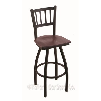 Contessa Swivel Bar Stool Base Finish: Black Wrinkle, Upholstery: Dark Cherry Oak