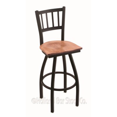 Contessa Swivel Bar Stool Base Finish: Black Wrinkle, Upholstery: Medium Maple