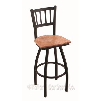 Contessa Swivel Bar Stool Base Finish: Black Wrinkle, Upholstery: Medium Oak