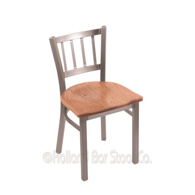 Contessa Solid Wood Dining Chair Upholstery: Medium Oak, Base Finish: Stainless