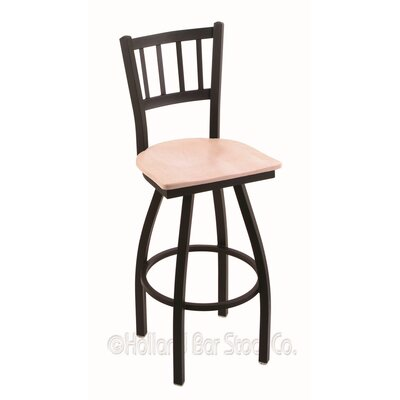 Contessa Swivel Bar Stool Base Finish: Black Wrinkle, Upholstery: Natural Maple