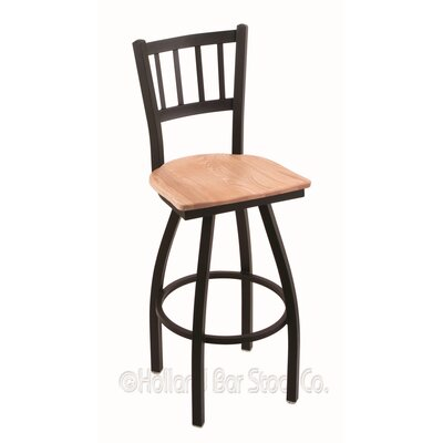 Contessa 30 Swivel Bar Stool Base Finish: Black Wrinkle, Upholstery: Natural Oak