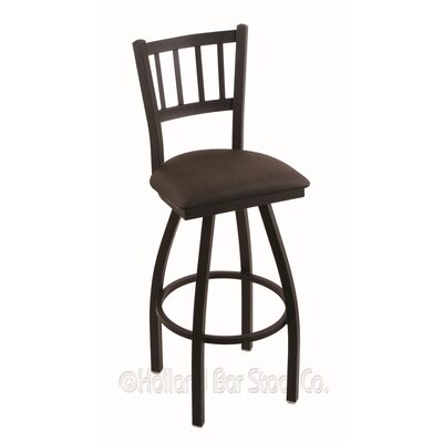 Contessa 36 Swivel Bar Stool Finish: Black Wrinkle, Upholstery: Rein Coffee