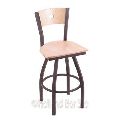 Voltaire 30 Swivel Bar Stool Base Finish: Pewter, Upholstery: Natural Maple
