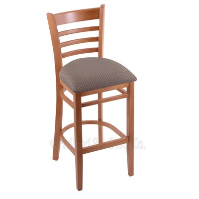 25 Bar Stool Finish: Medium, Upholstery: Axis Truffle