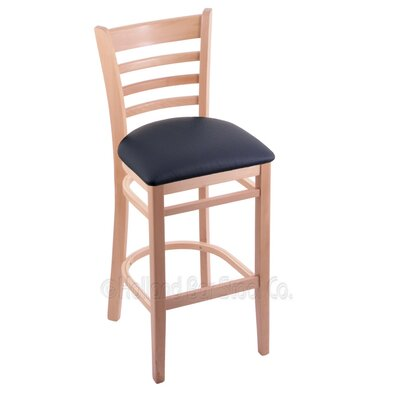 25 inch Bar Stool Upholstery: Allante Dark Blue, Finish: Natural