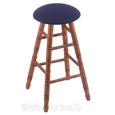 36 Swivel Bar Stool Finish: Medium Oak, Upholstery: Axis Denim