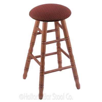 30 inch Swivel Bar Stool Finish: Medium Oak, Upholstery: Axis Paprika
