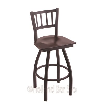 Contessa 25 Swivel Bar Stool Base Finish: Black Wrinkle, Upholstery: Dark Cherry Maple