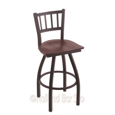 Contessa 25 Swivel Bar Stool Base Finish: Black Wrinkle, Upholstery: Dark Cherry Oak