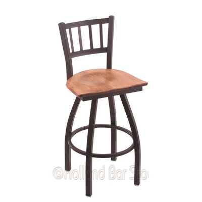 Contessa 25 inch Swivel Bar Stool Upholstery: Medium Maple, Base Finish: Black Wrinkle