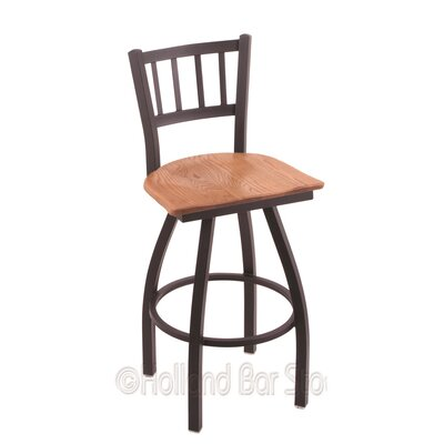 Contessa 25 Swivel Bar Stool Base Finish: Black Wrinkle, Upholstery: Medium Oak