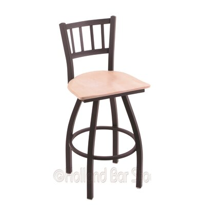Contessa 25 Swivel Bar Stool Base Finish: Black Wrinkle, Upholstery: Natural Maple