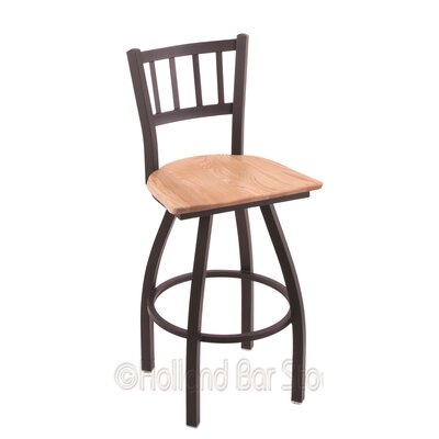Contessa 25 Swivel Bar Stool Base Finish: Black Wrinkle, Upholstery: Natural Oak