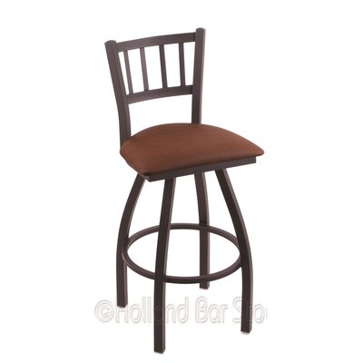 Contessa 25 Swivel Bar Stool Finish: Black Wrinkle, Upholstery: Rein Adobe