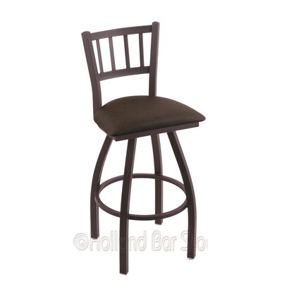 Contessa 25 Swivel Bar Stool Finish: Black Wrinkle, Upholstery: Rein Coffee