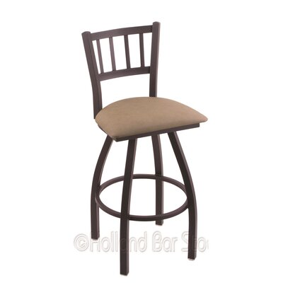 Contessa 25 Swivel Bar Stool Finish: Black Wrinkle, Upholstery: Rein Thatch