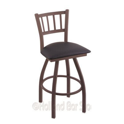 Contessa 30 Swivel Bar Stool Finish: Bronze, Upholstery: Allante Dark Blue
