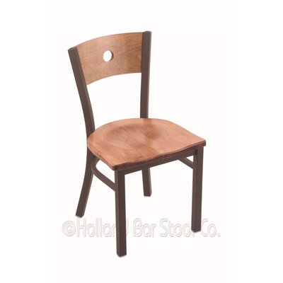 Voltaire Solid Wood Dining Chair Upholstery: Medium Maple, Base Finish: Bronze