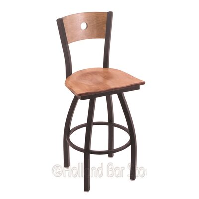 Voltaire 30 Swivel Bar Stool Base Finish: Black Wrinkle, Upholstery: Medium Maple