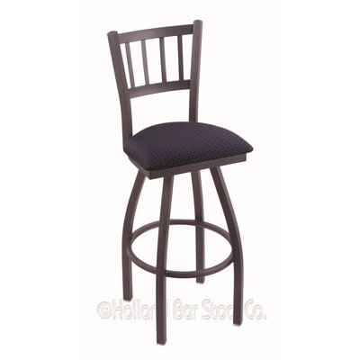 Contessa 25 Swivel Bar Stool Finish: Pewter, Upholstery: Axis Denim