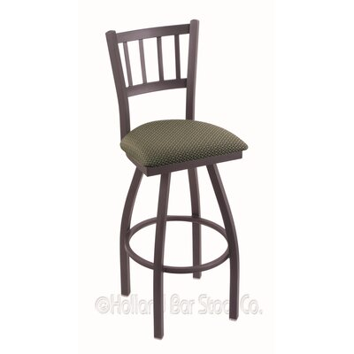 Contessa 25 inch Swivel Bar Stool Finish: Pewter, Upholstery: Axis Grove