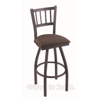 Contessa 36 Swivel Bar Stool Upholstery: Axis Truffle, Finish: Pewter